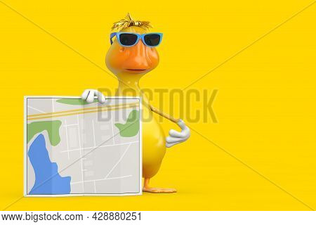 Cute Yellow Cartoon Duck Person Character Mascot With Abstract City Plan Map On A White Background.