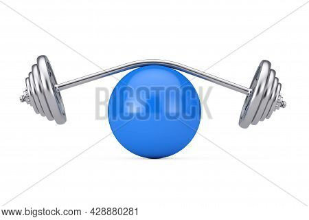 Fitness And Diet Concept. Curved Barbell Or Dumbbells For Weightlifting Over Big Blue Fitness Ball O