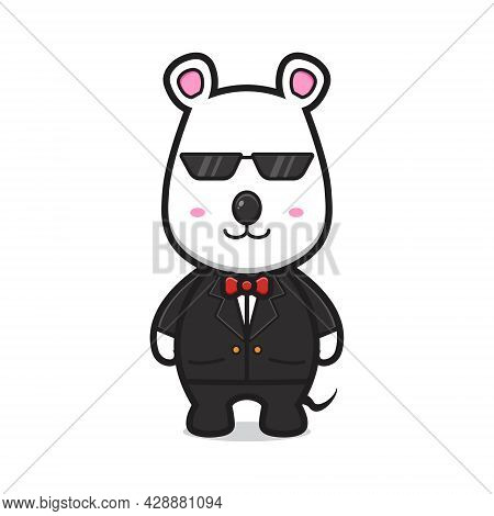 Cute Mouse As A Bodyguard Cartoon Vector Icon Illustration. Design Isolated Flat Cartoon Style.