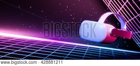 Vr Gaming Glasses, Futuristic Gadget, Fly In Space With Neon Retro Wave Cyber Light