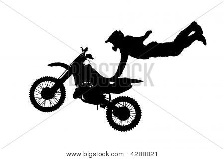 Isolated Motorbike Jump On The White