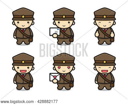 Set Of Cute Postman Mascot Character With Different Expression Cartoon Vector Icon Illustration. Des