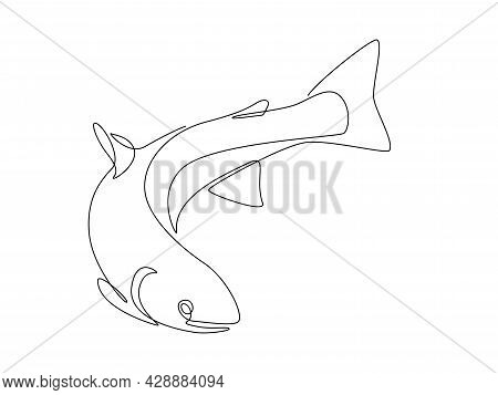 Salmon Fish In One Continuous Line Drawing. Fresh Seafood In Linear Sketch Style On White Background