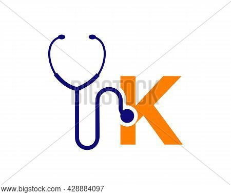 Health Care Logo With K Letter Concept. Stethoscope Logo K Letter Concept. Phonendoscope Logotype