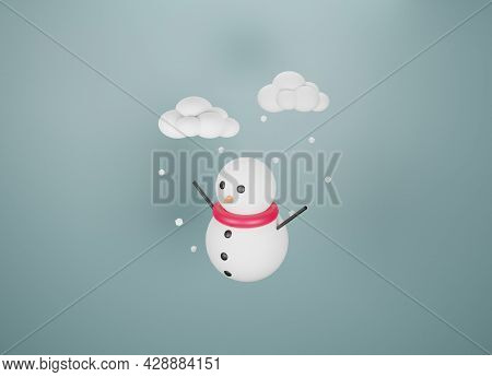 Icon Snow Isolated On Indigo Background Element, Have A Snowman, Weather Icon . 3d Rendering.