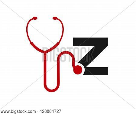 Health Care Logo With Z Letter Concept. Stethoscope Logo Z Letter Concept. Phonendoscope Logotype