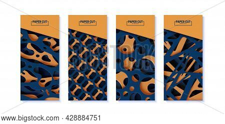 Set Of Abstract Banners With Cut Out Organic Shapes, Circles And Hexagon In Paper Cut Style. Collect