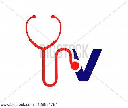 Health Care Logo With V Letter Concept. Stethoscope Logo V Letter Concept. Phonendoscope Logotype