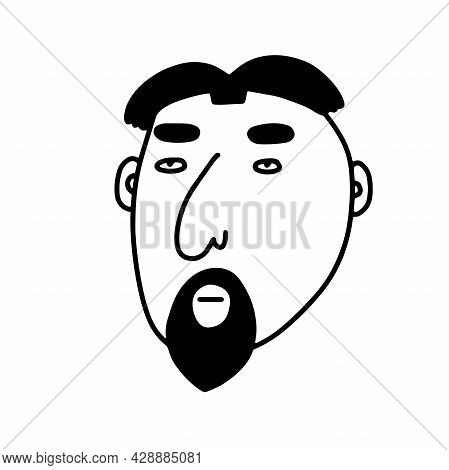 Doodle Bearded Man Face. Hand-drawn Outline Human Isolated On White Background. Funny Pensive Avatar