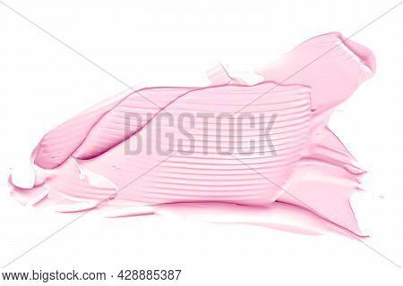 Blush Pink Beauty Cosmetic Texture Isolated On White Background, Smudged Makeup Emulsion Cream Smear