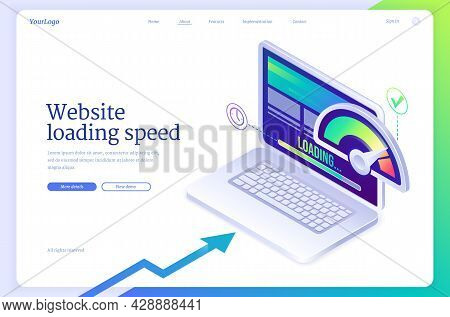 Website Loading Speed Isometric Landing Page. Mobile Site Optimization Digital Concept, Laptop With