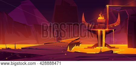 Hell Underground World, Infernal Hot Cave Or Mouth Of Volcano With Lava. Devil Altar With Stone Horn
