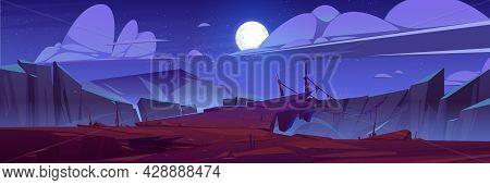 Mountains With Suspension Bridge Over Precipice At Night. Vector Cartoon Landscape Of Rocks, Wooden