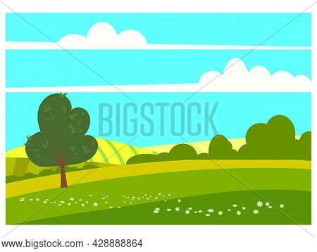 Lovely Countryside Landscape Spring Tree Green Hills Fields, Nature, Bright Color Blue Sky. Spring,