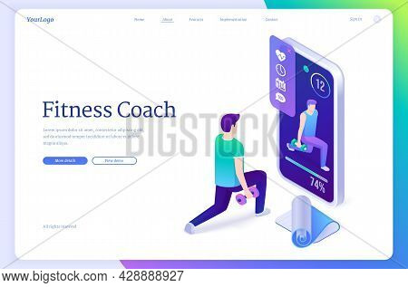 Fitness Coach Isometric Landing Page. Sportsman Training With Online Trainer Assistance Using Smartp