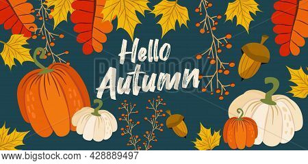 Hello Autumn Banner Or Greeting Card For The Autumn Holiday. Pumpkins, Inscriptions, Leaves And Mapl