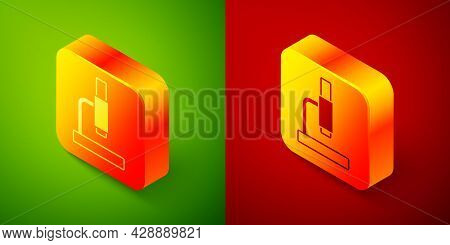 Isometric Microscope Icon Isolated On Green And Red Background. Chemistry, Pharmaceutical Instrument
