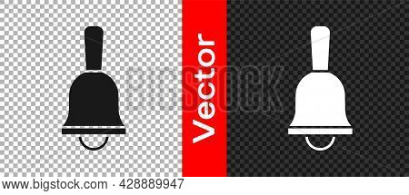 Black Ringing Bell Icon Isolated On Transparent Background. Alarm Symbol, Service Bell, Handbell Sig