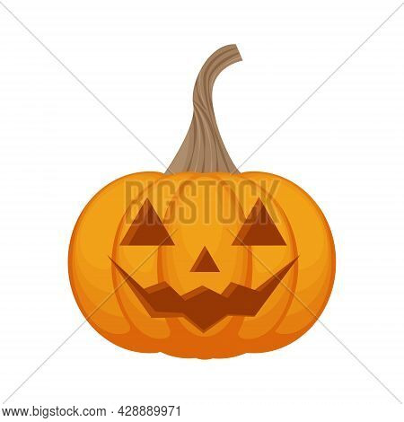 A Bright Festive Illustration With The Image Of A Pumpkin With A Smile. Pumpkin Is A Symbol Of The H