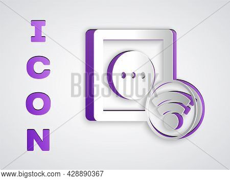 Paper Cut Smart Electrical Outlet System Icon Isolated On Grey Background. Power Socket. Internet Of