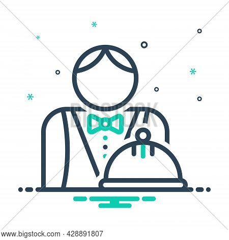 Mix Icon For Waiter Attendant Catering Bellboy Servant Steward Salver Hotel-service Professional