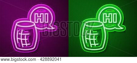 Glowing Neon Line Voice Assistant Icon Isolated On Purple And Green Background. Voice Control User I