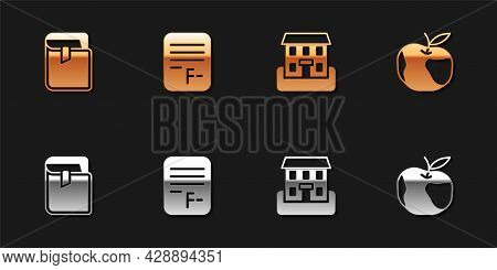Set Book, Exam Paper With Incorrect Answers, School Building And Apple Icon. Vector