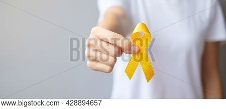 Suicide Prevention Day, Sarcoma, Bone, Bladder And Childhood Cancer Awareness Month, Yellow Ribbon F