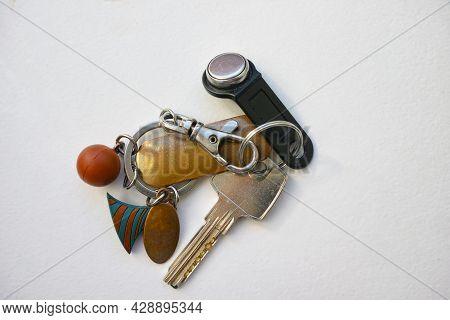 Keys On A Keyring And Trinkets, Overhead Still Life