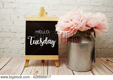 Hello Tuesday Typography Text On Easel Wooden Board