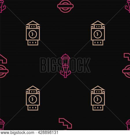 Set Line London Underground, Big Ben Tower And Vintage Street Light On Seamless Pattern. Vector