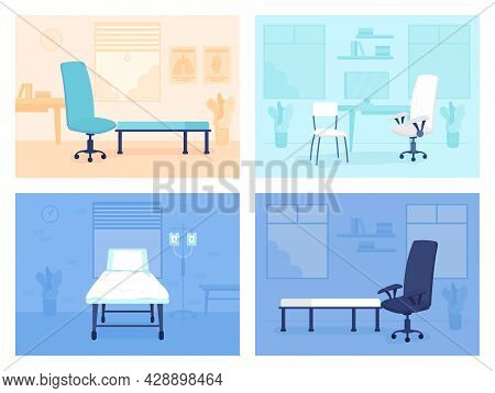 Doctor Office Room Flat Color Vector Illustrations Set. Therapeutic Practice. Healthcare Facility 2d