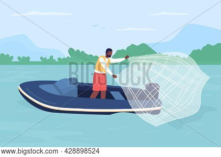 Catching Fish With Casting Net Flat Color Vector Illustration. Sport Fishing. Outdoor Enthusiast. Us