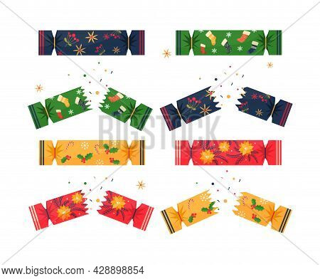 Set With Colorful Christmas Crackers On White Background. Concept Of Festive Crackers Full Of Colorf