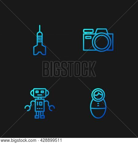 Set Line Tumbler Doll Toy, Robot, Dart Arrow And Photo Camera. Gradient Color Icons. Vector