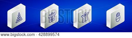 Set Isometric Line Pyramid Toy, Jack In The Box, Toy Puppet Doll On Hand And Tumbler Icon. Vector