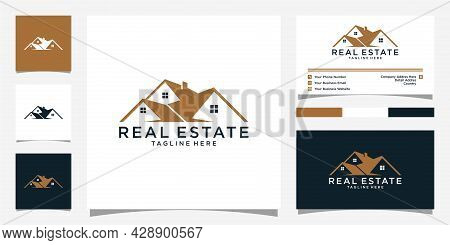 Roof And Home Logo Vector Design With Business Card. Real Estate Logo