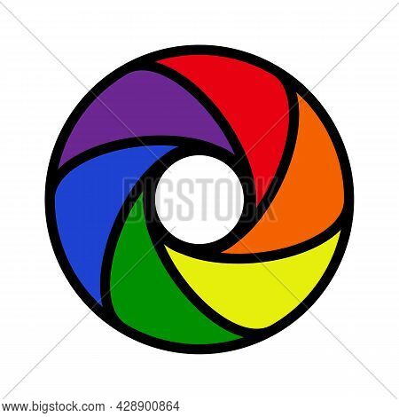Objective Lens Vector Icon With Six Rainbow Colors