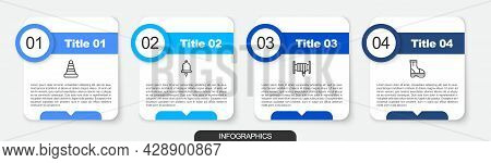Set Line Traffic Cone, Ringing Alarm Bell, Fire Hose Reel And Boots. Business Infographic Template.