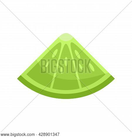 Cocktail Lime Piece Icon. Flat Illustration Of Cocktail Lime Piece Vector Icon Isolated On White Bac