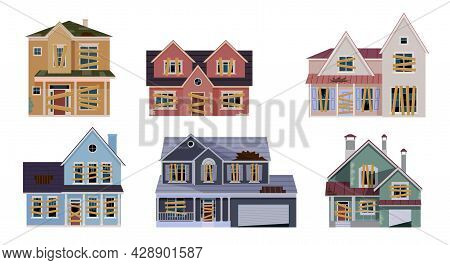 Old Abandoned House Cartoon Collection. Decaying Suburban Cottage With Broken Windows. Vector Illust
