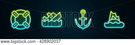 Set Line Lifebuoy, Sinking Cruise Ship, Anchor And Tropical Island Ocean. Glowing Neon Icon. Vector