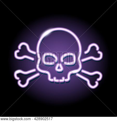 Neon Skull And Crossbones Icon Isolated On Black Background. Piracy, Danger, Death, Halloween Concep