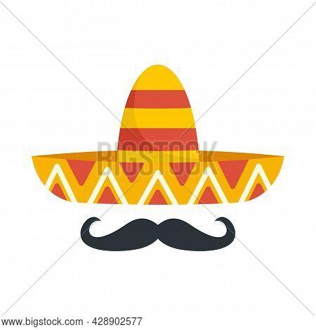 Mexican Sombrero Mustache Icon. Flat Illustration Of Mexican Sombrero Mustache Vector Icon Isolated