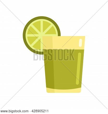 Tequila Lime Glass Icon. Flat Illustration Of Tequila Lime Glass Vector Icon Isolated On White Backg