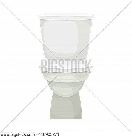 White Toilet Bowl Or Toilet Tank Isolated On White Background Vector Illustration