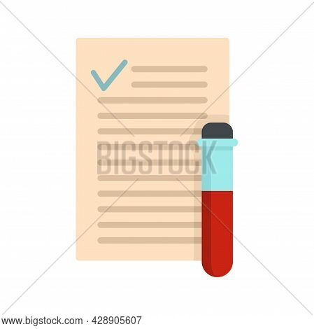 Blood Test Results Icon. Flat Illustration Of Blood Test Results Vector Icon Isolated On White Backg