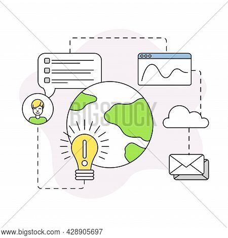 Business And Start-up Development With Light Bulb And Globe Vector Line Composition