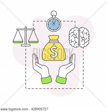 Business And Start-up Development With Finance And Brain Vector Line Composition