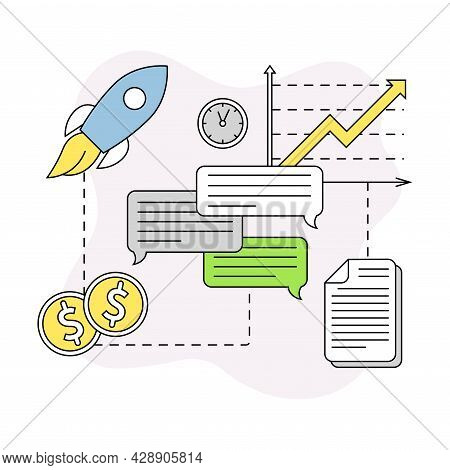 Business And Start-up Development With Rocket Launch And Growth Graph Vector Line Composition